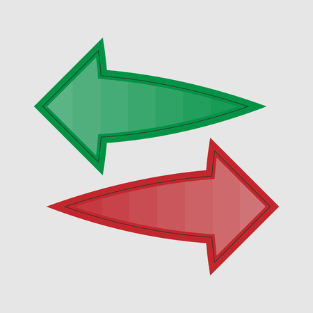 Exchange and return icon in color style. Vector arrows in two directions. Horizontal arrows.