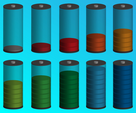 Battery charge status indicator. Volumetric color indicator of the battery. Vector objects. The level of energy.