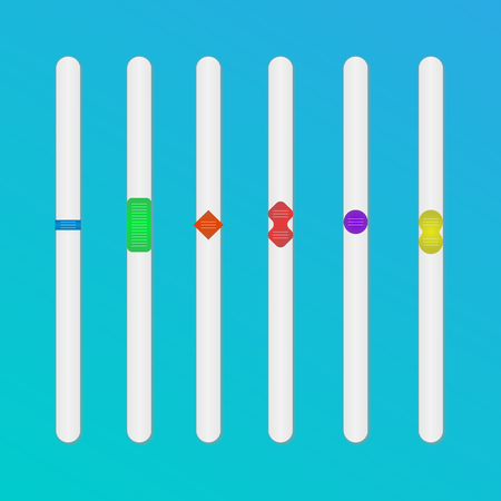 Color sliders for the web interface. Vector control sliders. Design elements.