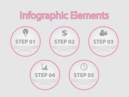 Infographic elements for the business. Steps to achieve the goal. Vector elements. Template of idea presentation.