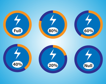 Set of energy quantity indicators. Vector blue charge indicators. Round vector elements.