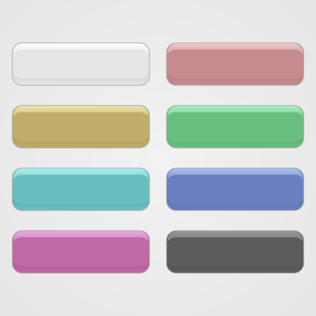 Set of three-dimensional buttons. Vector interface elements. Color buttons.