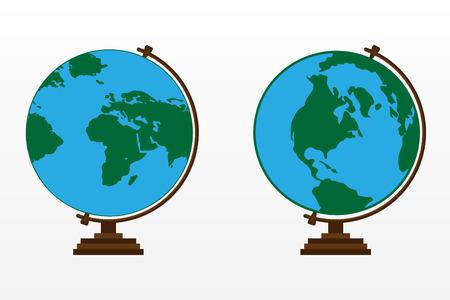 白い背景に木製の地球儀。カラー ベクター グローブ。  イラスト・ベクター素材
