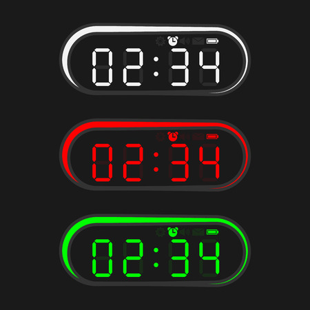 Colorful electronic clock in oval shape design