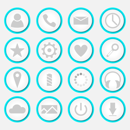Set of round white icons. Icons with blue backlight. Vector icons for applications. Illusztráció