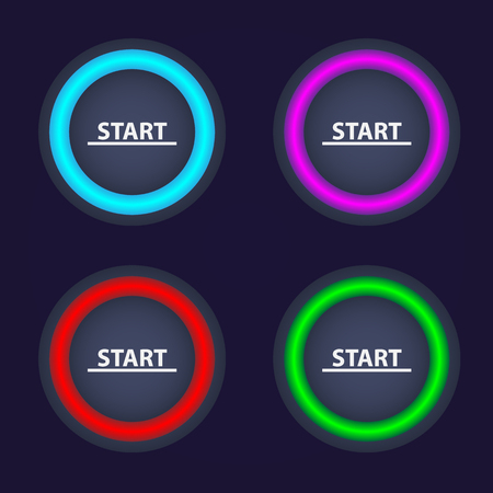 Set of color Start buttons.