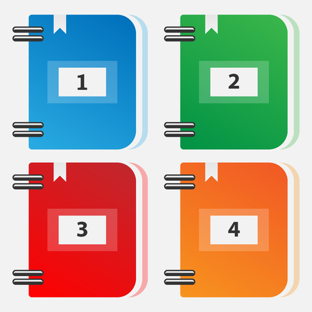 Set of colored folders for files vector illustration