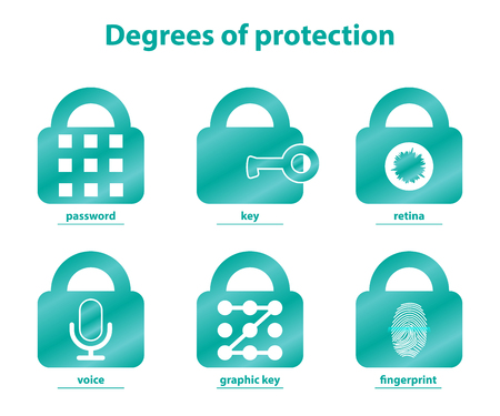 Set of lock icons, degrees of protection accessing the system. Illusztráció