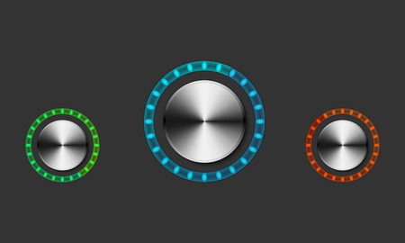 Round metal volume controls with backlight. Set of colored mixer buttons with colored neon lights. Ilustração