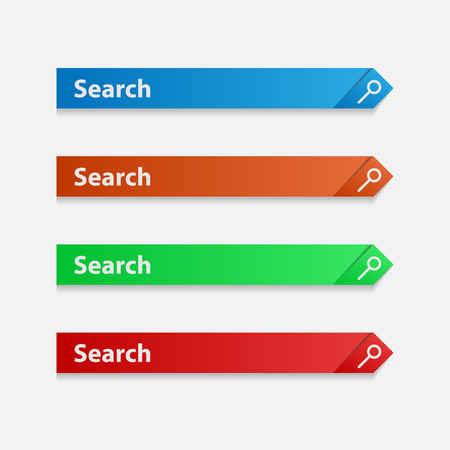 Set of search bands. Color search lines. Elements of the search service. Vector strip for information retrieval. Illustration