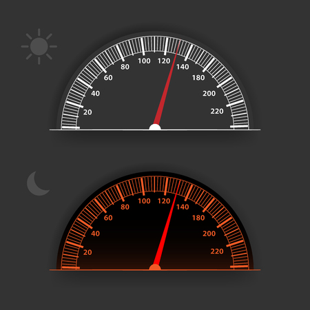 Vector speedometer with backlight. Speedometer with day and night mode of operation. Gray analog speedometer.