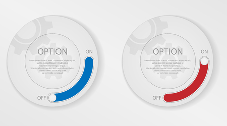 Infographic elements, circle with options. Activating and deactivating the selected option. Circle for text with toggle switch.