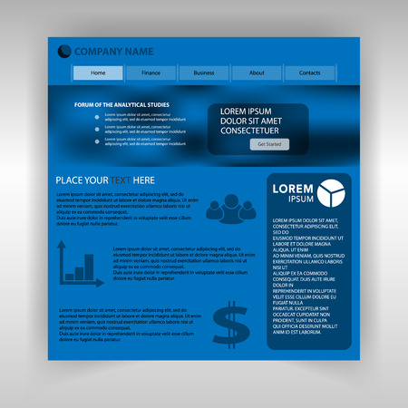 Internet page of the company's business. Website template of financial company.