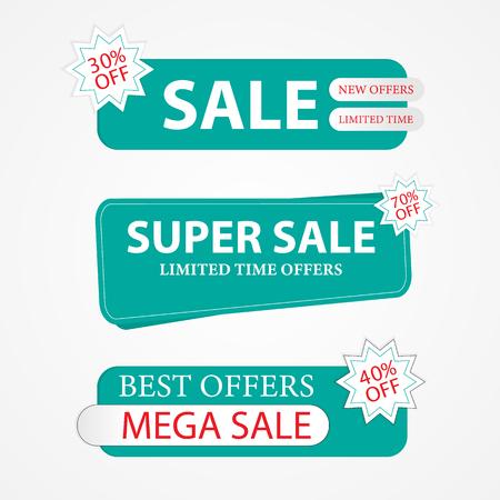 Blue Stickers Super Sale. Sale advertisements, vector elements.