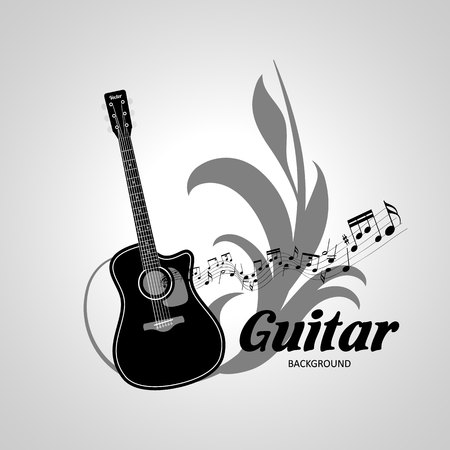 Background on the theme of music. Black and White Guitar Vector. Illustration