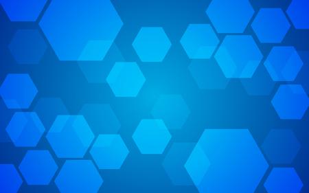 Sovrapposizione geometrica astratta del modello di esagono su fondo blu. Modello di tecnologia con copia spazio. Illustrazione vettoriale.