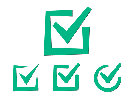 Set of tick icons. Green checkmark icon in different styles. Selection button for checklist.