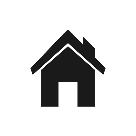 Black house icon on a white background. Graphic design element.