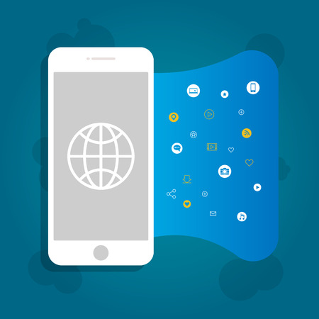 Vector illustration of a smartphone with applications. Internet applications for smartphones, abstraction.