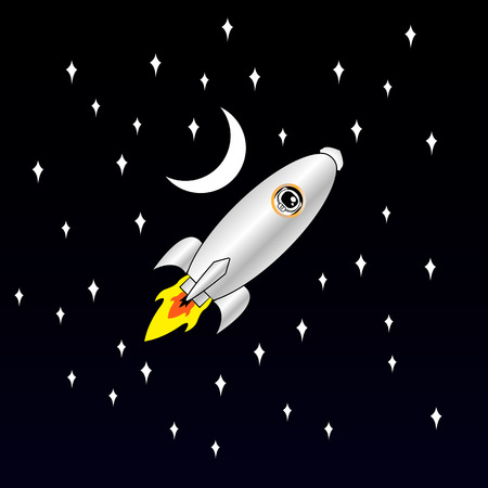 Spaceship on a starry sky background. Flight of the cold space. Astronaut in the porthole on the shuttle. Illustration
