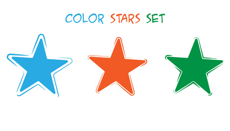 Three vector stars of different colors. Set of stars of different variations. Ilustrace