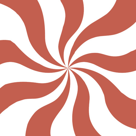 Background in circus style. Twisted paper background. Red and white lines, whirl imitation.
