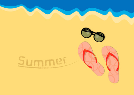 Vector illustration, beach by the sea. Pair of flip flops with sunglasses. Summer banner on the sea Иллюстрация