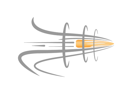 Vector illustration of a flying bullet. The bullet cuts through the air. Bullet shot in the air.