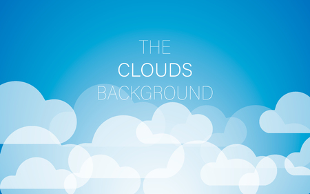 Clouds background in blue sky. Vector image of the sky. Illustration of white colorful clouds.