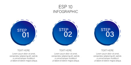 Blue circles infographics. Three steps, business elements. Infographic circles vector template.