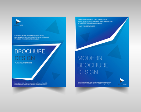 Brochure template layout design. Corporate business brochure template in blue. Vector annual report cover template.