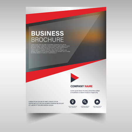 Vector business brochure cover. Annual report cover template. Presentation cover in red.