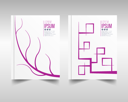 Brochure cover design options. Pink abstract magazine cover. Catalog design, abstract branch in two versions. Ilustração