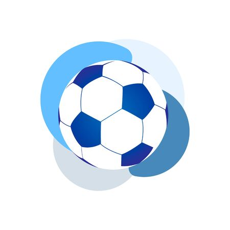 Vector soccer ball icon. Blue ball icon on white background. Football icon.