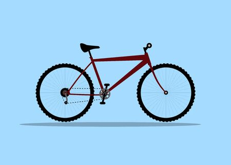 Vector illustration bicycle on blue background. Red sports bike.