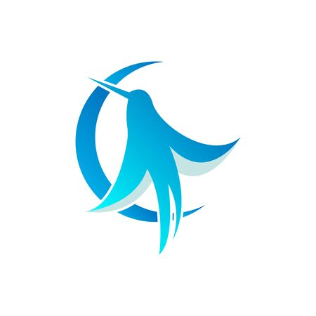 Blue Bird logo. Vector bird icon on white background.   birds with wings, hummingbirds.