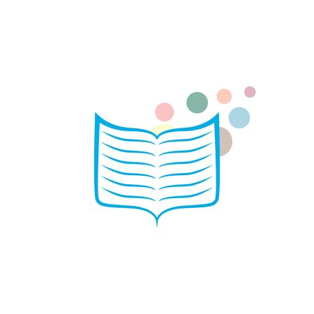 Vector icon of the book in blue. Abstract open book icon on white background.