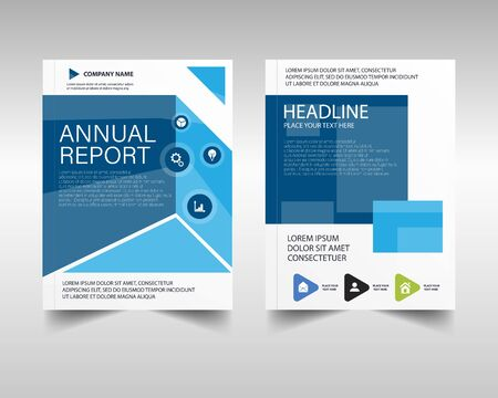 Vector annual report cover template. White leaflet with elements of blue graphics. Ilustração
