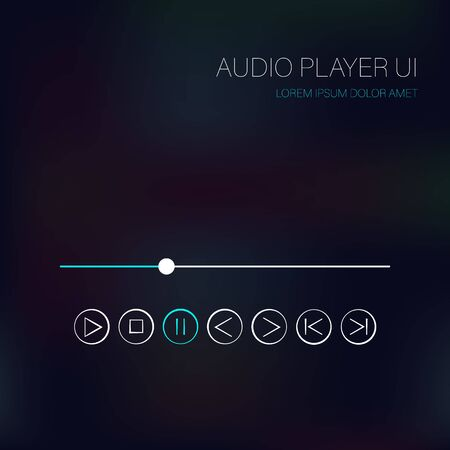 Vector music player interface. Music controls, scroll bar. Music content control buttons. Audio player interface, UI. Ilustração