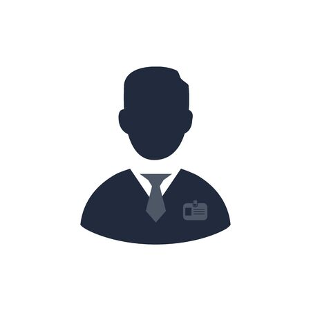 Worker vector icon. Company employee with a badge. Person icon, hired worker.