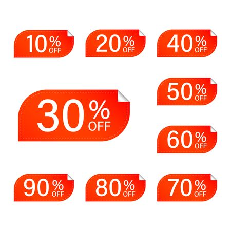 Sticker price tag red. Sale, discounts, a set of stickers. Vector tags with discount. Ilustração