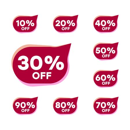 Vector price tags at a discount. Red stickers, special offer. Elements of graphics for sale. Ilustração