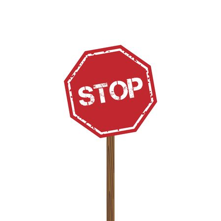 Vector old stop sign. Curve road sign. Sign restricting traffic on the road. Traffic stop sign on white background.