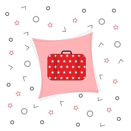 Red suitcase for travel. Vector banner, illustration of a suitcase on a white background.