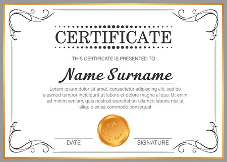 Vector certificate template with golden frame. �¡ertificate design template.