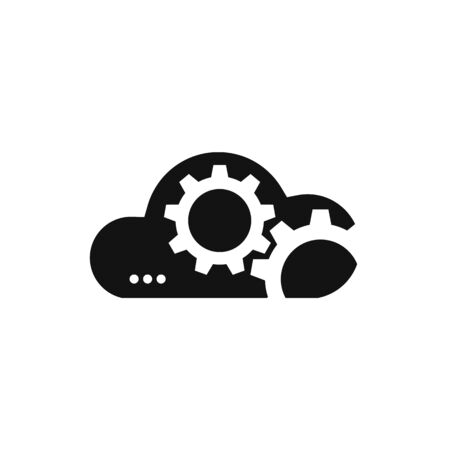 Vector cloud technology sign. Black cloud icon with gears. Loading icon.