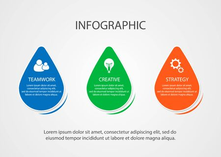 Vector business infographics. Visualization of the achievement of a business idea. 3 steps, implementation of a business plan.