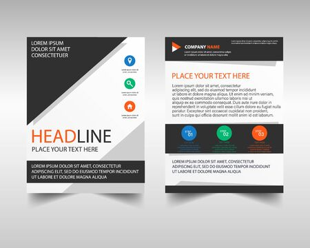 Stylish brochure template design. Black and white cover business brochure.