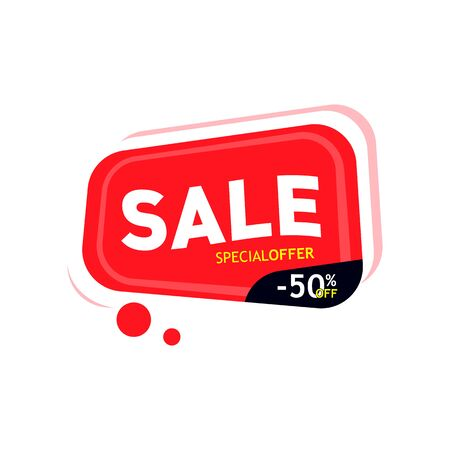 Vector image, sale. Special offer, 50% discount. Red banner sale discount.