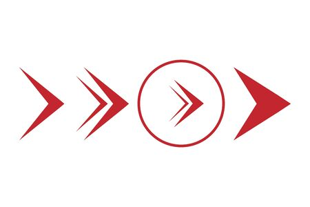 Set of red arrows in a flat style. Vector arrows in red. Different arrows on a white background. Ilustração